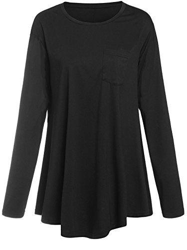 Romwe Womens Loose Long//Short Sleeve Comfy Swing Tunic Top Blouse T-Shirt Tee Tshirt