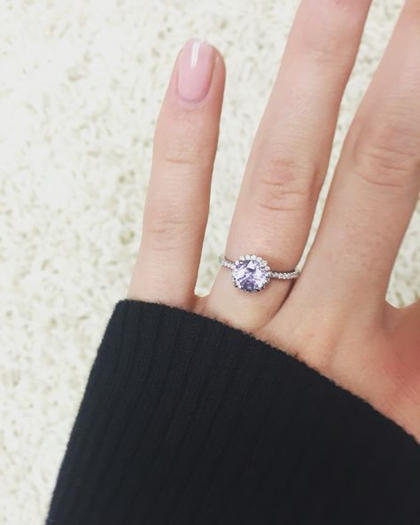 My white sapphire engagement ring. Changes color depending on the light.