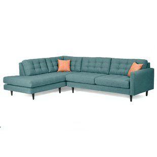 Modern Contemporary Teal Blue Hayley Sofa Allmodern Mid Century Modern Sectional Mid Century Sectional Sofa Modern Sofa Sectional
