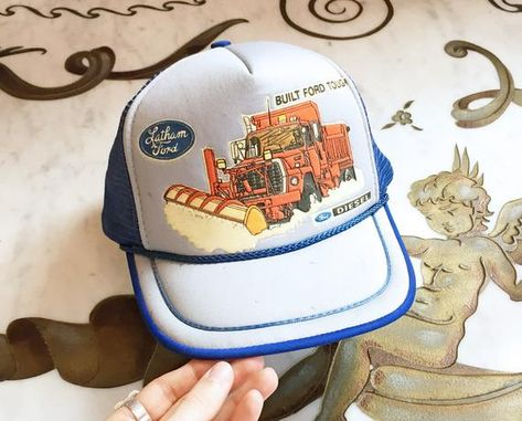 Vintage 70s Ford Snowplow Graphic Trucker Hat   1970s SnapBack Mesh  Baseball Cap OOAK Sample c1786418b12