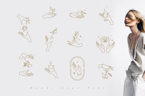 Hands Logo Flat by Anna on Creative Market - Logos Massage Logo, Corporate Design, Brand Identity Design, Branding Design, Corporate Branding, Logo Branding, Hand Logo, Hand Drawn Logo, Flat Illustration