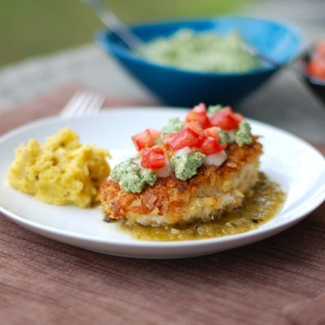 This tortilla chicken with salsa verde is chicken coated with corn tortilla chips and topped with salsa verde. Adapted from my favorite Mexican restaurant! | pinchofyum.com