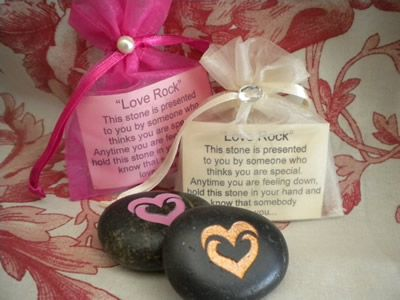 """Wedding Love Rocks in mesh bag! A 1"""" etched heart stone with any color paint....delightful Wedding Favors!"""
