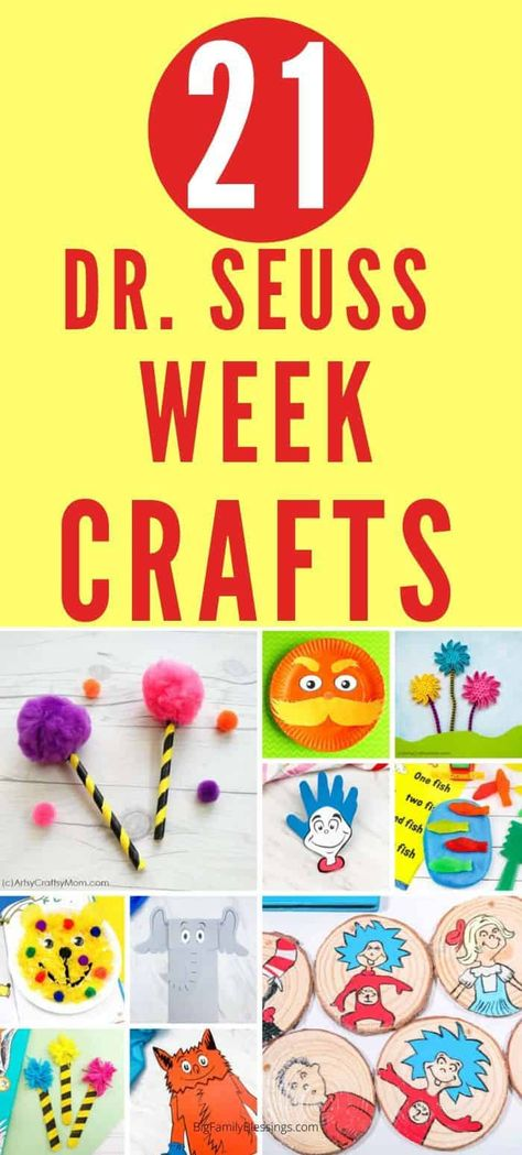 Dr Seuss Week is the perfect time to snuggle up and read your kids favorite Dr. Continue the Dr Seuss fun by completing a craft or two from each Dr Seuss book you read this week. These Dr Seuss Crafts are perfect choices for Dr Seuss Week!