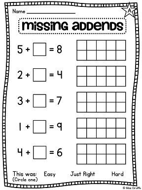Missing Addends Worksheet For First Grade That Uses 10 Frames To Help Kids Solve The Problems First Grade Math First Grade Math Worksheets Missing Addend Math worksheets missing addends first
