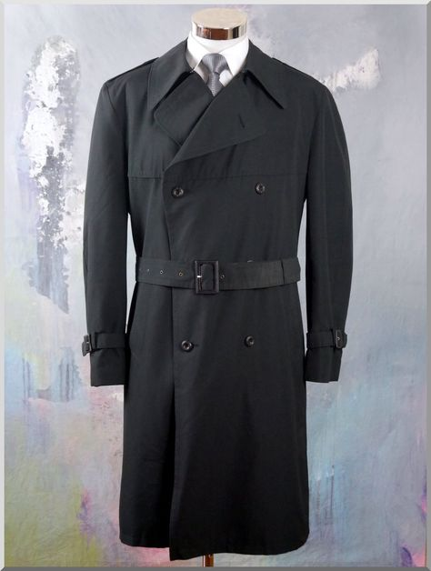 Black Trench Coat, Double Breasted European Vintage Men's
