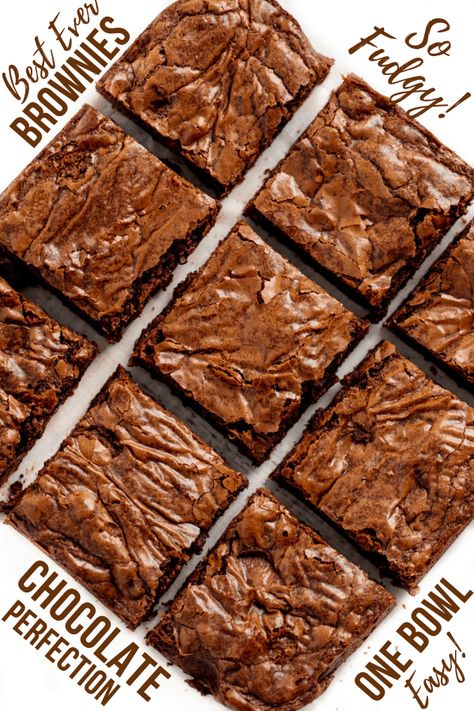 The Best Brownie Recipe Ever has the perfect crackly top with bites of fudgy, chewy chocolate goodness. This easy one-bowl recipe means you'll never buy a boxed brownie mix again!