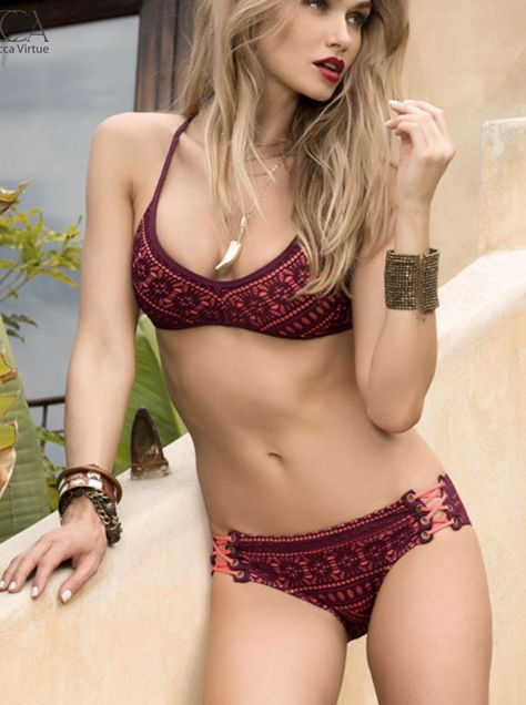 Beautiful crochet overlay bikini