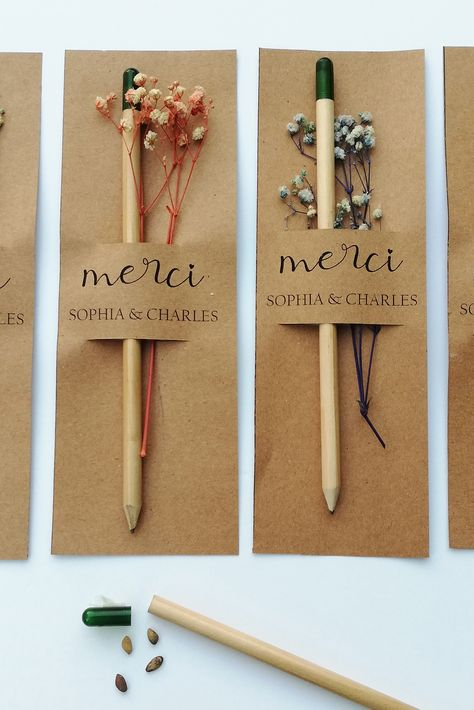 This personalized seed pencils stuck on a thank you card can be used as an unforgettable and unique wedding favor. Let your guests watch your love grow. They are perfect gifts especially when you're trying to show thanks to someone. #weddingfavors #seedpencilfavors #plantablefavors #rusticweddingfavors #rusticfavors