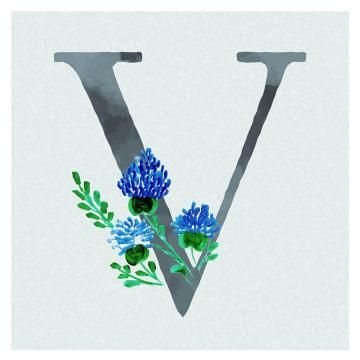 Watercolor Floral Background In Blue Theme Letter V Watercolor Color Floral Png And Vector With Transparent Background For Free Download Floral Background Floral Watercolor Letter V