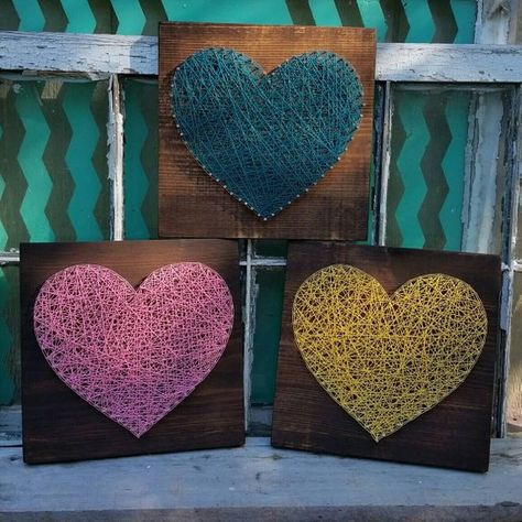 String Art Heart, In Your Color Choice, NailedItDesign, Wood Heart Sign, Heart Home Decor, Nail Hear