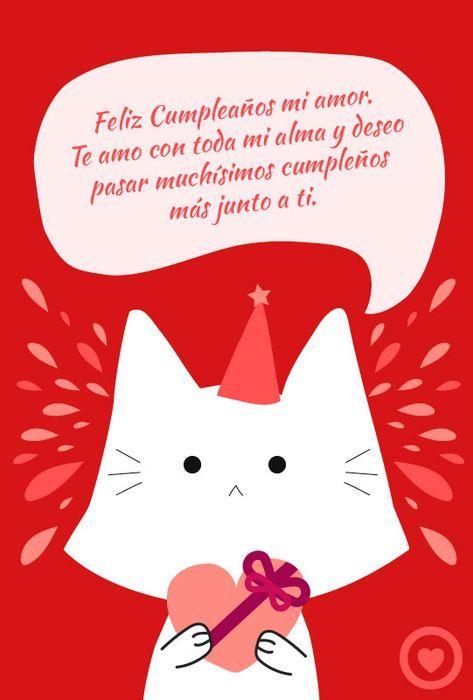 Tarjeta De Cumpleaños De Amor Con Gato Feliz Cumpleaños Amor Tarjetas De Feliz Cumpleaños Feliz Cumpleaños Gatos