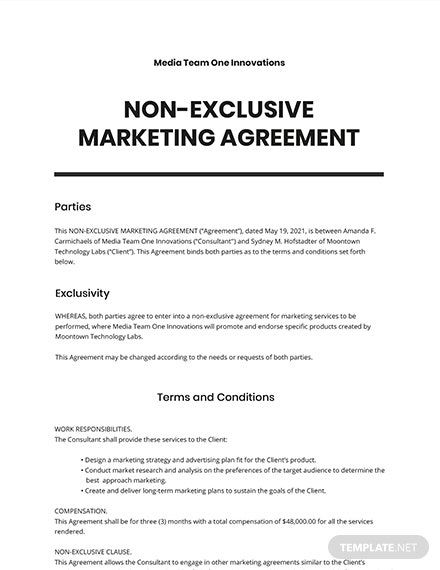9 Free Exclusive Agreement Templates Edit Download Template Net Agreement Word Doc Templates