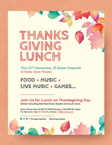 Free Thanksgiving Lunch Flyer With Images Flyer Flyer