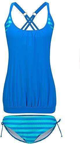 Lemef Women Stripes Lined Up Tankini Double Up Swimwear Two Pieces Bathing Suit