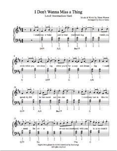 I Don T Want To Miss A Thing By Aerosmith Piano Sheet Music