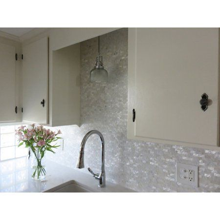 Home Improvement Mother Of Pearl Backsplash Backsplash Kitchen