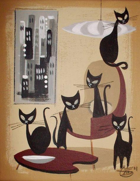 EL GATO GOMEZ PINUP GIRL RETRO PRINT VINTAGE HALLOWEEN MOD BEISTLE CAT WITCH