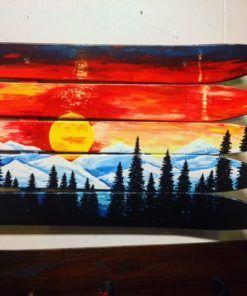 Colorado Flag Sunset Mural Ski Wall Art Hand Painted Mural Wall Art Colorado Painting Flag Art