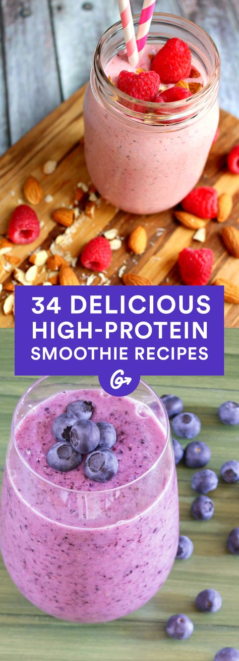 With eight or more grams of protein and minimal ingredients, these drinks are perfect for a post-workout pick me up. #protein #smoothies #recipes http://greatist.com/eat/high-protein-smoothie-recipes