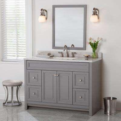 Brinkhill 49 In W X 22 In D Bath Vanity In Sterling Gray With Solid Surface Vanity Top Grey Bathroom Vanity Bathroom Vanities Without Tops Marble Vanity Tops