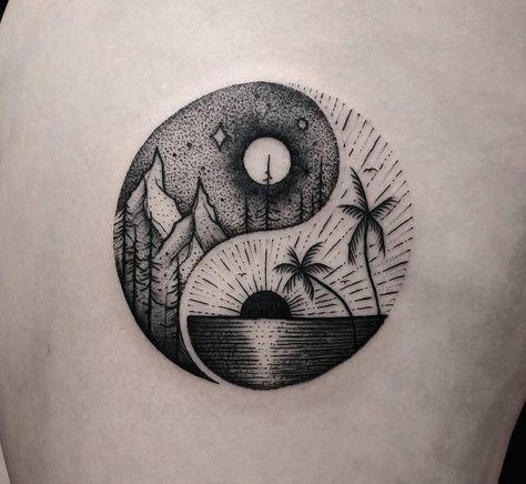 Yin-Yang Summer & Winter Balance Symbol | Tattoo Ideas