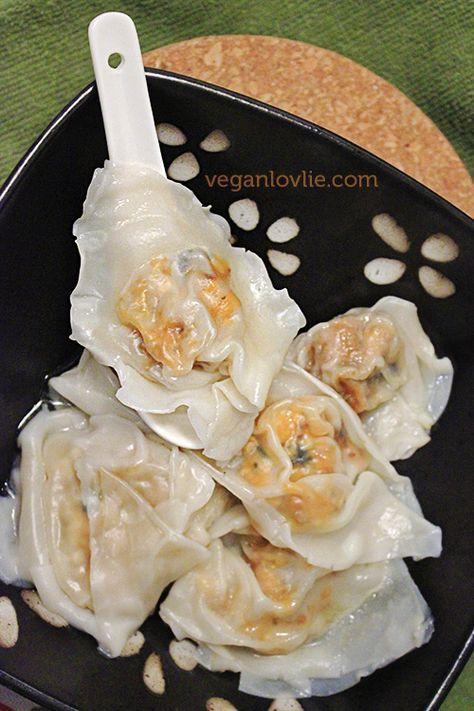 #Vegan Sweet Potato Tofu Wontons in Butternut Squash and Broccoli Soup | VeganLovlie