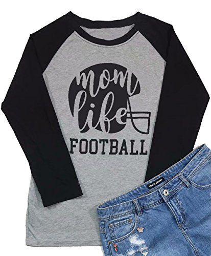Dutut Mom Life Football T Shirt Women 3 4 Sleeve Raglan Tee Cute