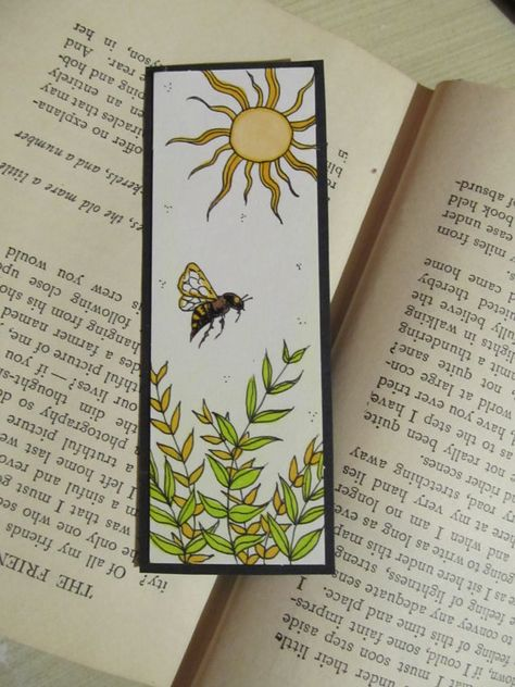 Bookmark Sun Nature Bee and Plants Unique Bookmarks by bytheoakArt, $9.00