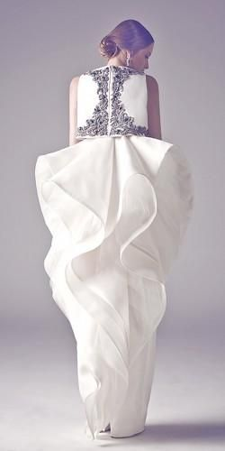 Ashi Studio Haute Couture Fall Winter 2015 Collection white ruffled vase shaped skirt with embelished top so pretty