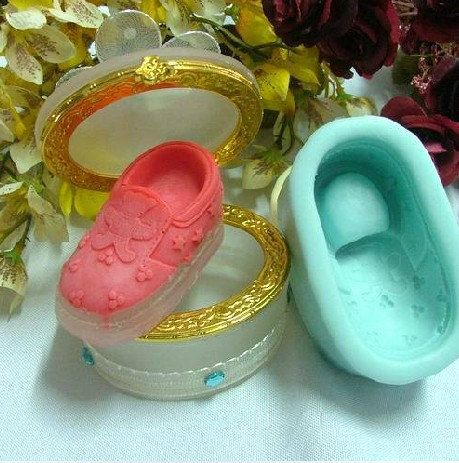 Soap Mold,Cake Molds Baby Shoe With Bear Christmas Gift Silicone Mold, For Soap, Candy,Cake, Ice,Craft. $6.99, via Etsy.