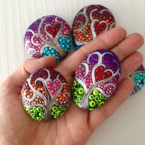 Mini Trees of Life Dot Art Painted stone painted rock Fairy   Etsy