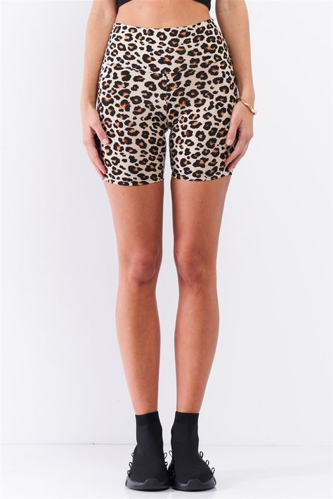Leopard Print High Waisted Fitted Yoga Biker Shorts - S