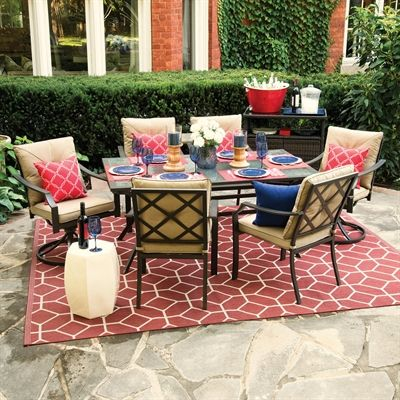 Shop Garden Treasures Vinehaven 7 Piece Outdoor Dining Set At Lowe S Canada Find Our Selection Of Outdoor Dining Set Outdoor Patio Furniture Patio Dining Set