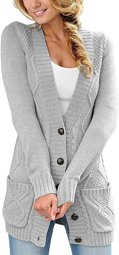 LOSRLY Womens Long Sleeve Open Front Chunky Cable Knit Cardigan Sweater Coats
