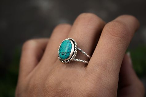 Turquoise Ring, Natural Turquoise Sterling Silver Ring, December Birthstone Ring, Boho, Handmade Ring, Turquoise Jewelry