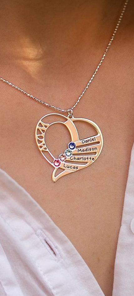 749324f24 Engraved Mom Birthstone Necklace in Sterling Silver | US - My Name ...