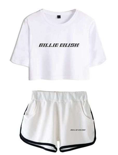 Billie Eilish S Crop Top T Shirts And Shorts Clothes Set T Shirt And Shorts Outfit Sets Hip Hop Crop Tops