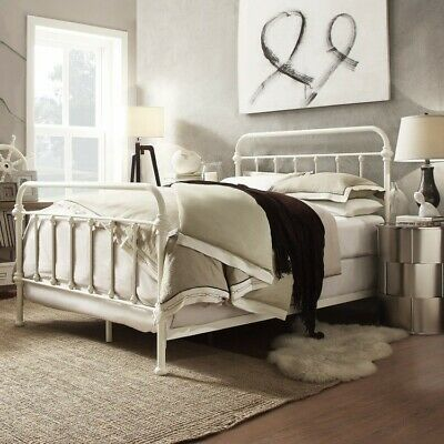Metal Queen Bed White Bedframe Headboard Footboard Rails Slat Bedstead Furniture Ebay In 2020 White Bed Frame Queen Size Bed Frames Metal Bed Frame Queen