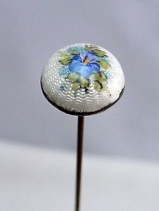 "Antique Sterling Silver Guilloche Enamel Hat Pin Blue Violet 7"""