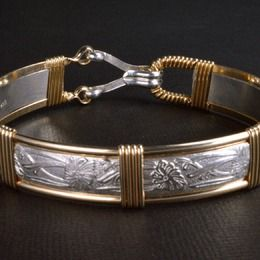 SIZE 5 TO 9 ----- BRACELET  IN  14KT ROLLED GOLD WIRE  and STERLING SILVER