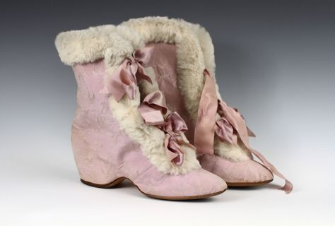 Very feminine #lavender riding boots from Marshall Field, Inc. Made of silk taffeta, rabbit fur, leather & satin (1890-1895) @Albany Institute Acc. #1946.9