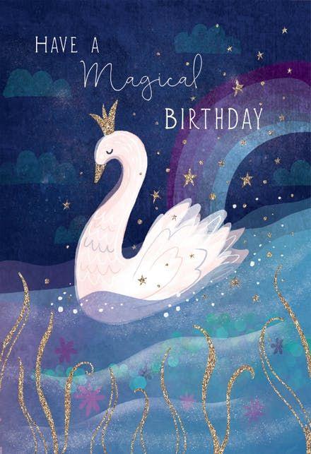 Royal Swan Birthday Card Free Greetings Island Happy Birthday Illustration Happy Birthday Wishes Cards Birthday Wishes Cards