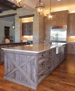 Barn Wood Siding Salvaged Reclaimed Look Barn Gray Kitchen Island Cabinets Kitchen Renovation New Kitchen Cabinets