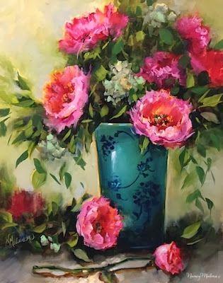 Painting Peonies at the Dallas Arboretum by Floral Artist Nancy Medina, painting by artist Nancy Medina