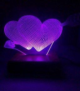 اباجورات ليد باشكال قلوب مختلفة 3d بريموت كنترول 16 لون مع امكانية اضافة رسالة او صورة Neon Signs Purple Neon