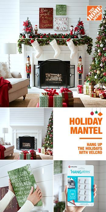 Hang Up The Holidays With Velcro Brand Hangables Removable Fasteners And Create A Unique Gallery Christmas Home Christmas Decorations Christmas Fireplace