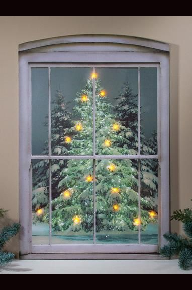 Lighted Christmas Tree Viewed From Window Dimensions 30 X 20 X 3 4 Inches Aa Batteries Not Include Lighted Canvas Art Light Up Canvas Radiance Lighted Canvas