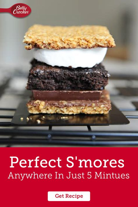 Your favorite camping treat moves indoors with this s'mores dessert recipe the kids will love. Pin now for your next indoor activity.