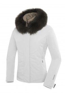 Black ski jacket with black fur hood
